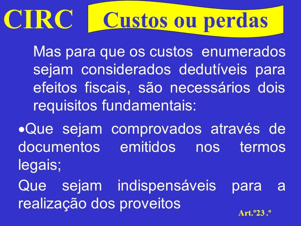 CIRC Custos ou perdas.