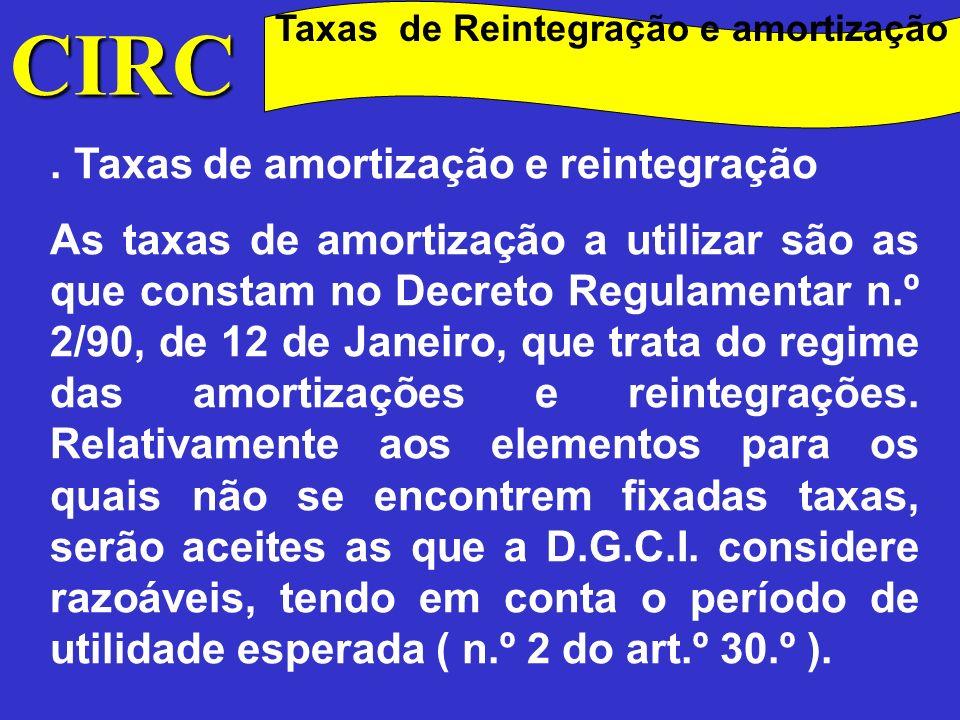 Taxas de Reintegração e amortização