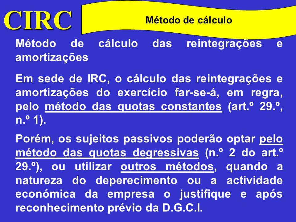 CIRC Método de cálculo das reintegrações e amortizações