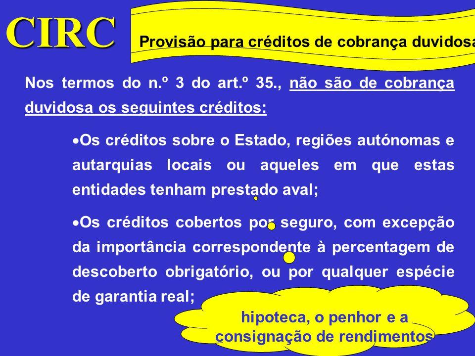 CIRC Provisão para créditos de cobrança duvidosa Conceitos