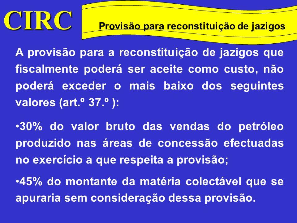 Provisão para reconstituição de jazigos Método das quotas degressivas