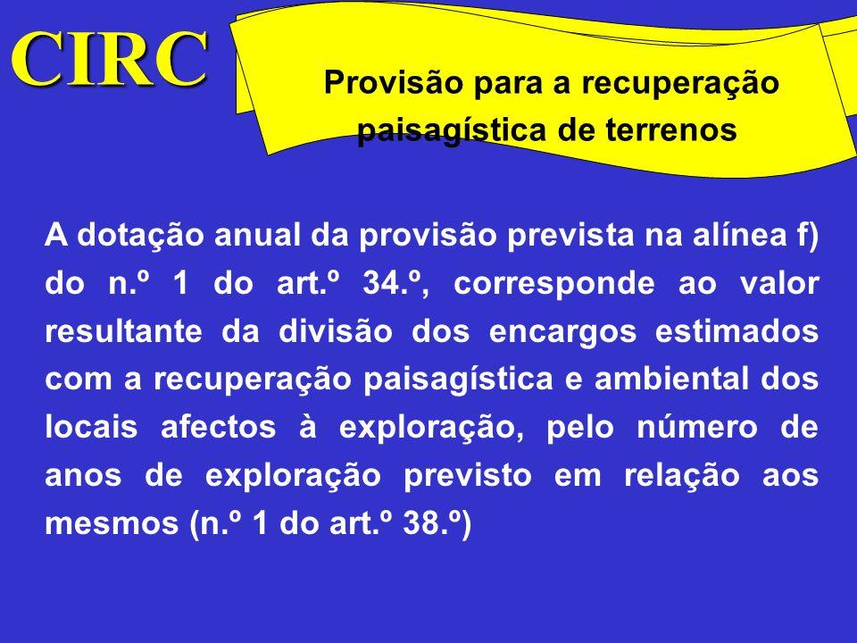 CIRC Provisão para a recuperação paisagística de terrenos