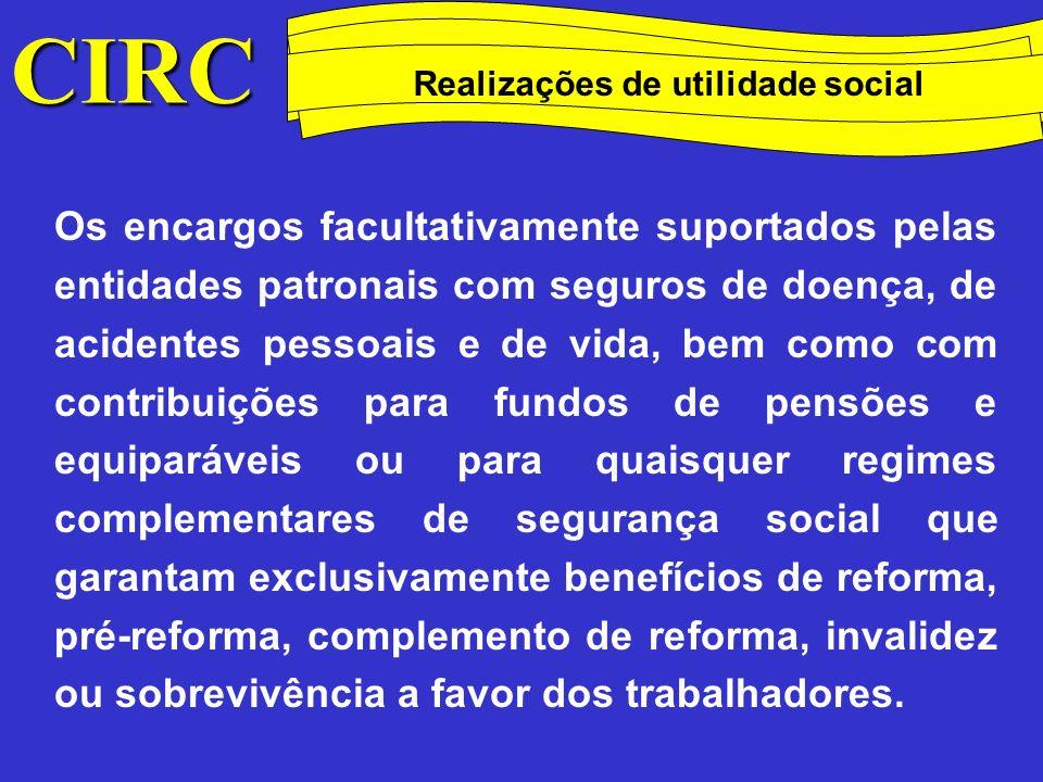 Método das quotas degressivas Realizações de utilidade social