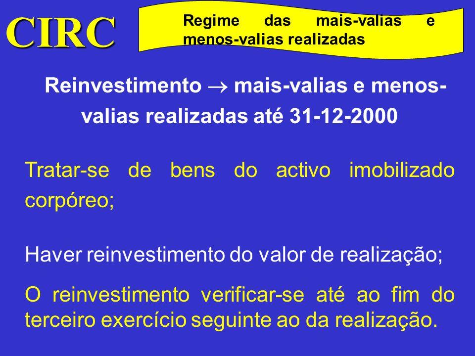 Reinvestimento  mais-valias e menos- valias realizadas até 31-12-2000