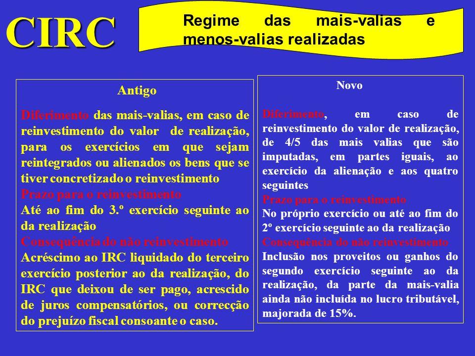 CIRC Antigo Regime das mais-valias e menos-valias realizadas