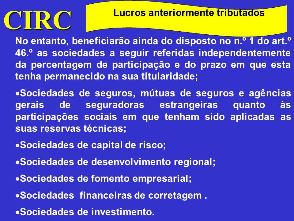 CIRC Lucros anteriormente tributados