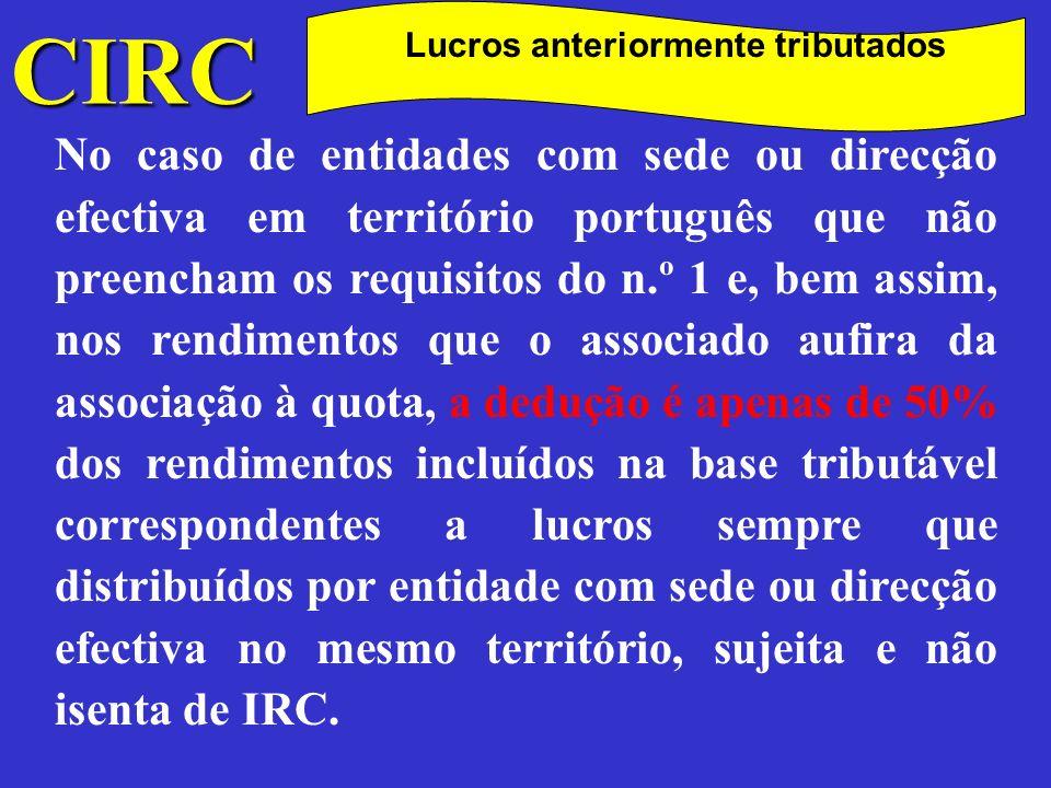 CIRC Lucros anteriormente tributados.