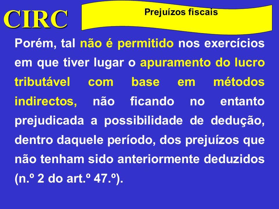 CIRC Prejuízos fiscais.