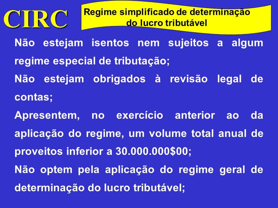 Regime simplificado de determinação do lucro tributável