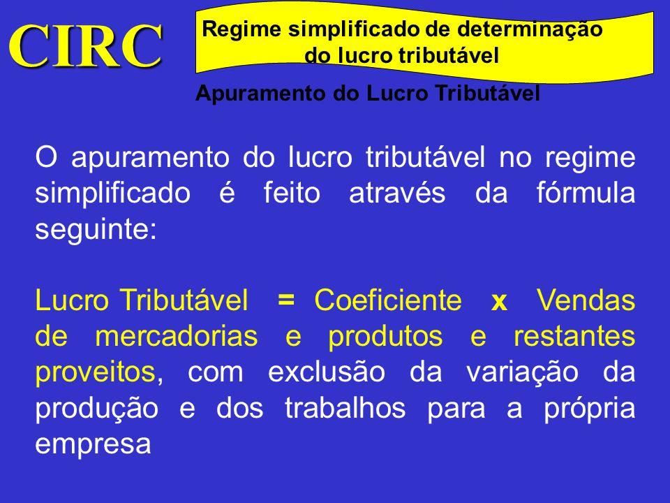 CIRC Regime simplificado de determinação do lucro tributável. Apuramento do Lucro Tributável.