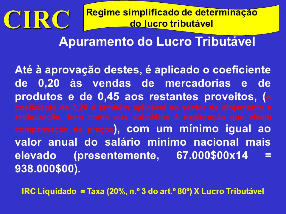 CIRC Apuramento do Lucro Tributável