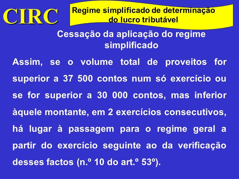 CIRC Cessação da aplicação do regime simplificado