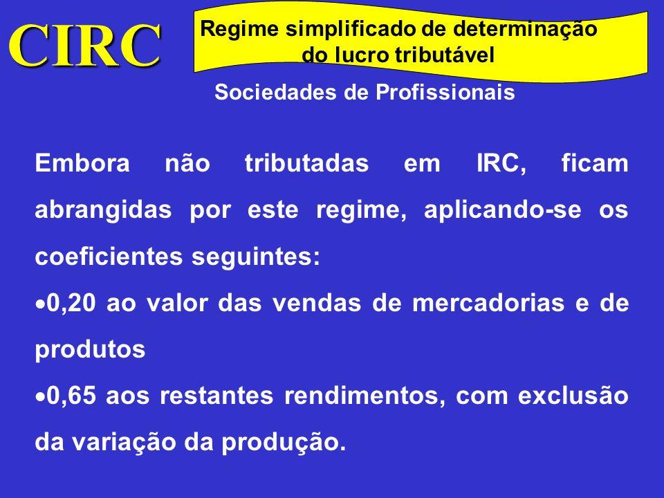 CIRC Regime simplificado de determinação do lucro tributável. Sociedades de Profissionais.