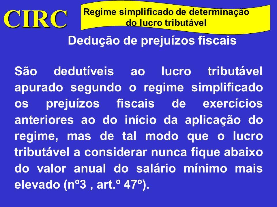 CIRC Dedução de prejuízos fiscais