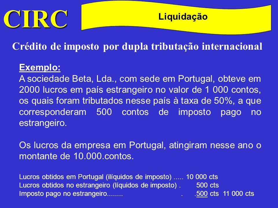 C CIRC Crédito de imposto por dupla tributação internacional