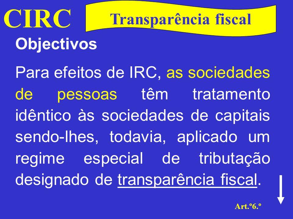 CIRC Transparência fiscal Objectivos