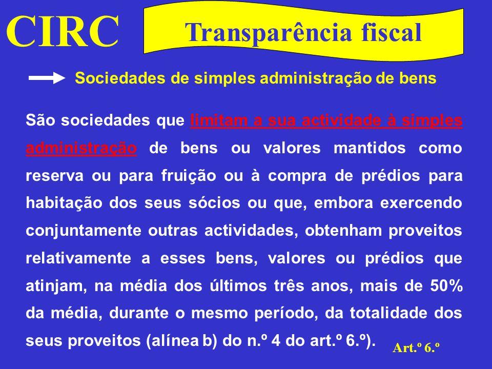 CIRC Transparência fiscal Sociedades de simples administração de bens