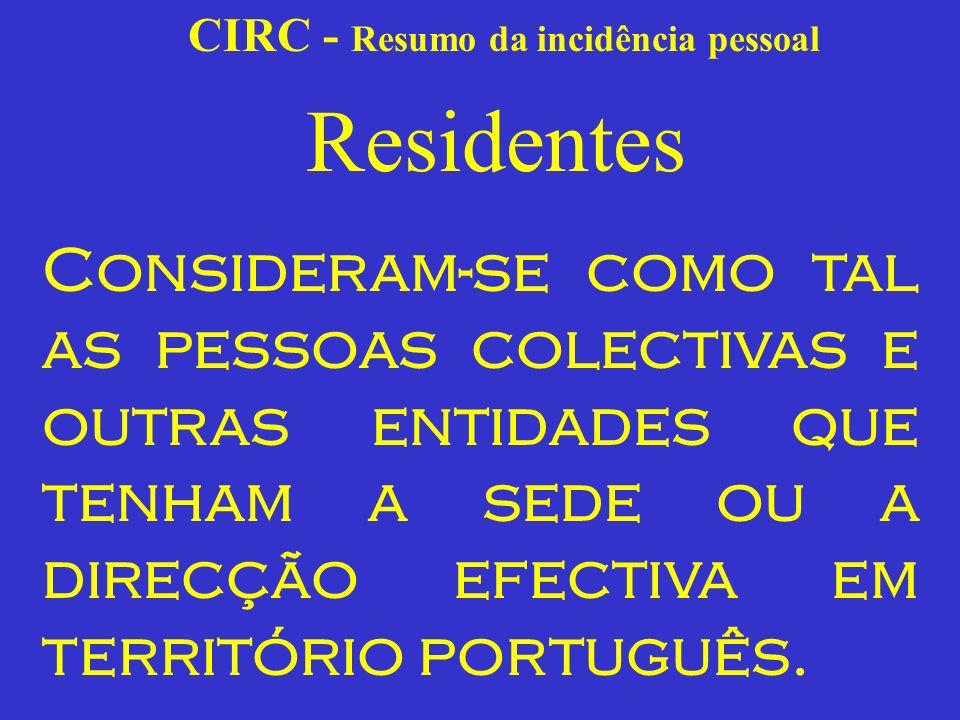 CIRC - Resumo da incidência pessoal