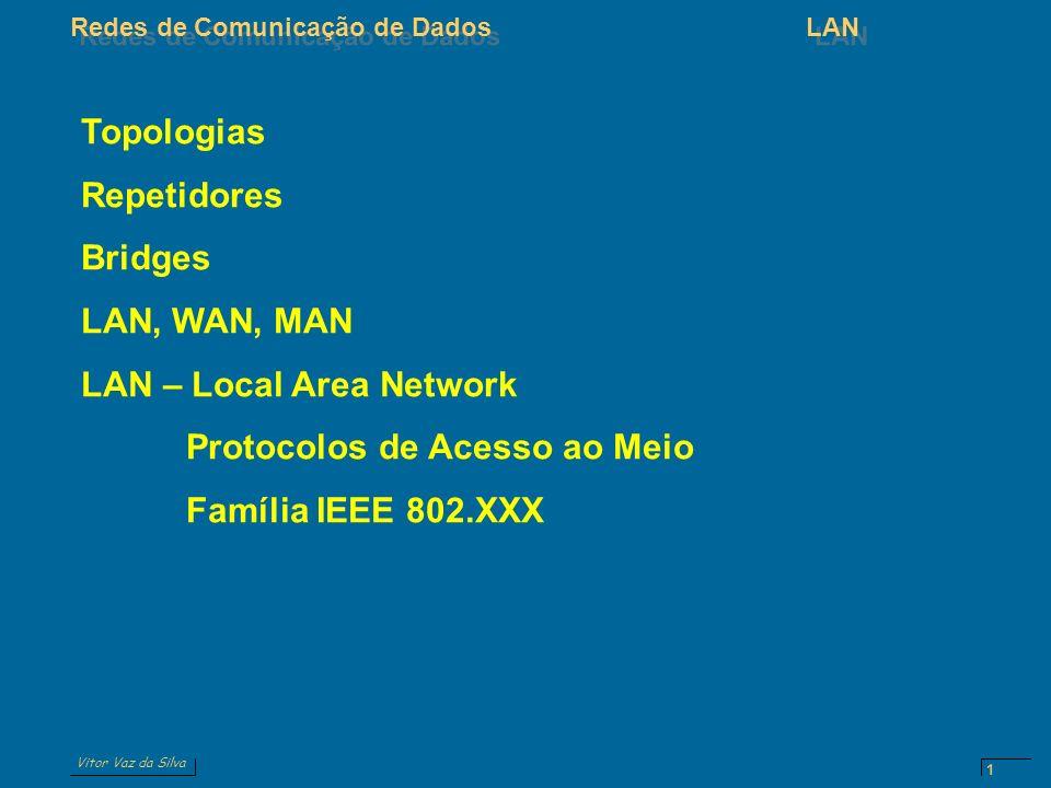 Topologias Repetidores. Bridges. LAN, WAN, MAN. LAN – Local Area Network. Protocolos de Acesso ao Meio.