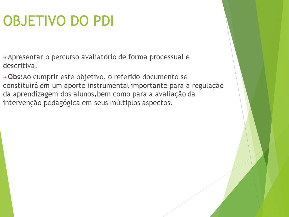 OBJETIVO DO PDI Apresentar o percurso avaliatório de forma processual e descritiva.