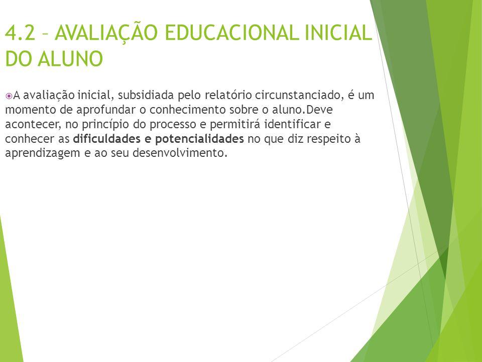 4.2 – AVALIAÇÃO EDUCACIONAL INICIAL DO ALUNO