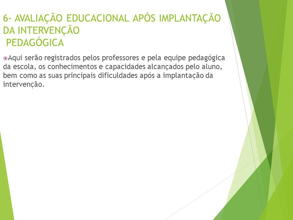 6- AVALIAÇÃO EDUCACIONAL APÓS IMPLANTAÇÃO DA INTERVENÇÃO PEDAGÓGICA