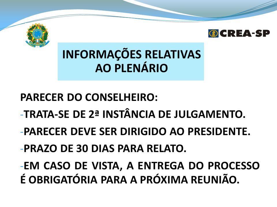 INFORMAÇÕES RELATIVAS AO PLENÁRIO
