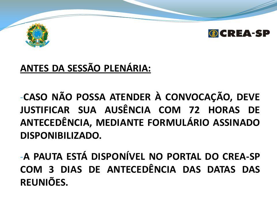 ANTES DA SESSÃO PLENÁRIA: