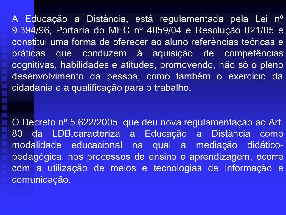 A Educação a Distância, está regulamentada pela Lei nº 9