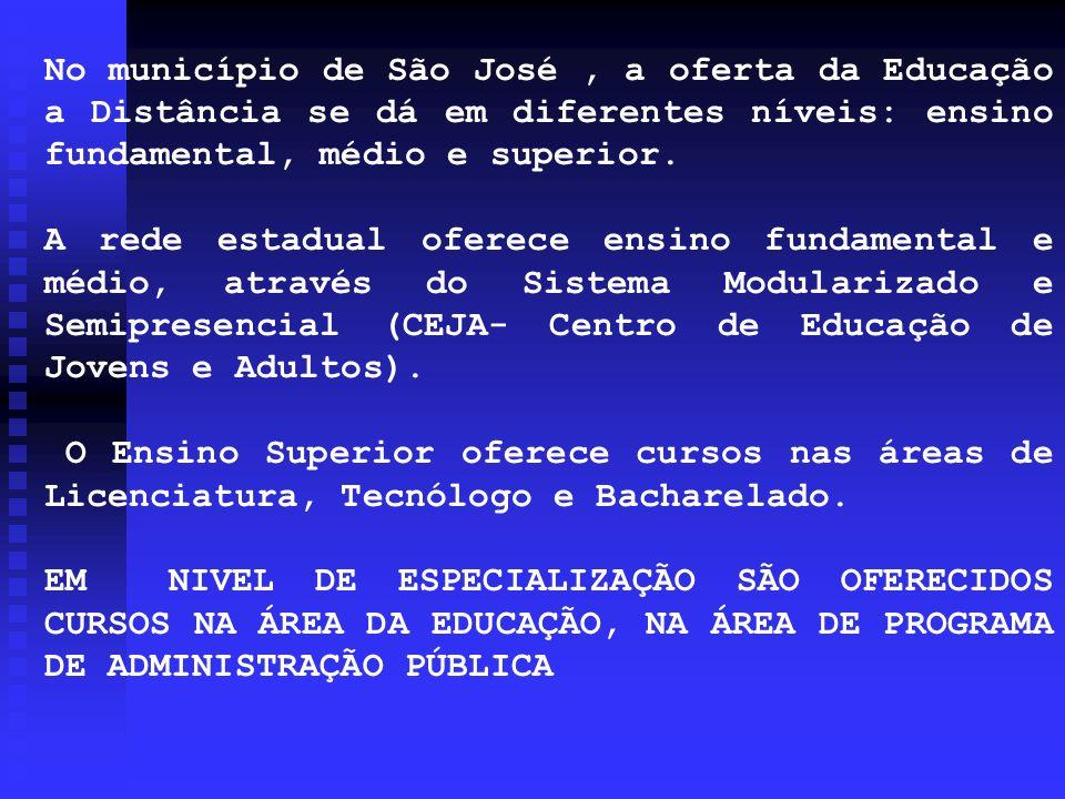 No município de São José , a oferta da Educação a Distância se dá em diferentes níveis: ensino fundamental, médio e superior.