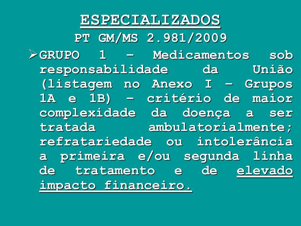 ESPECIALIZADOS PT GM/MS 2.981/2009