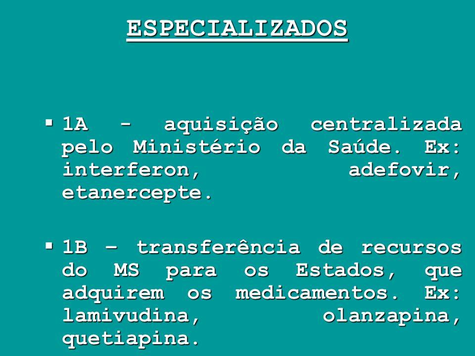 ESPECIALIZADOS 1A - aquisição centralizada pelo Ministério da Saúde. Ex: interferon, adefovir, etanercepte.