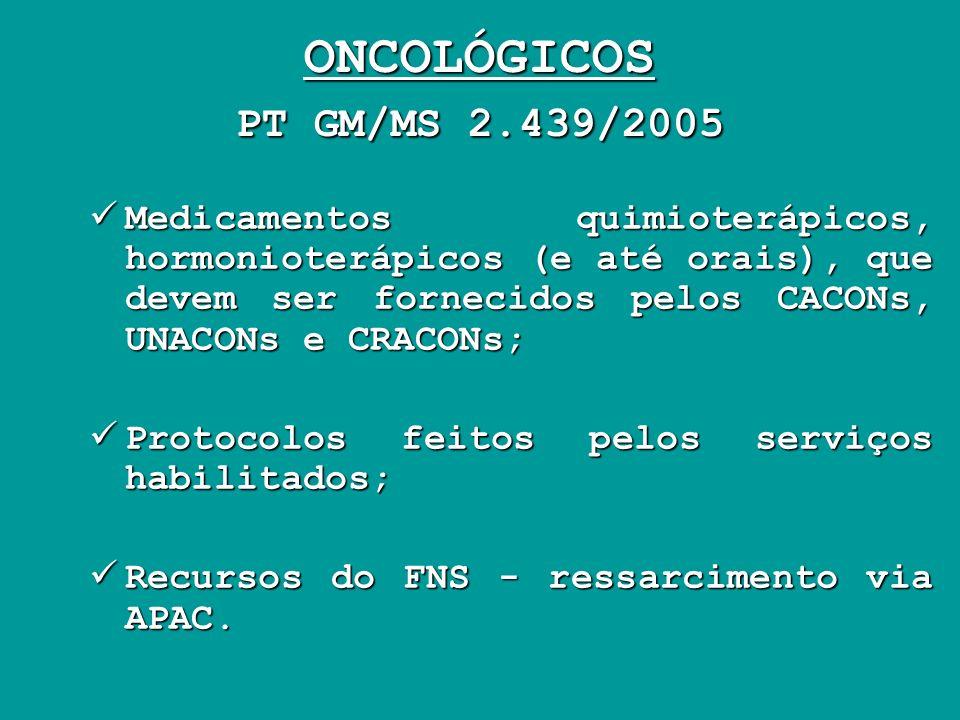 ONCOLÓGICOS PT GM/MS 2.439/2005