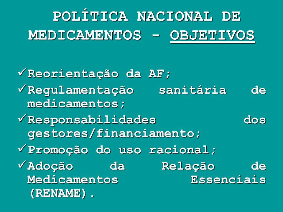 POLÍTICA NACIONAL DE MEDICAMENTOS - OBJETIVOS