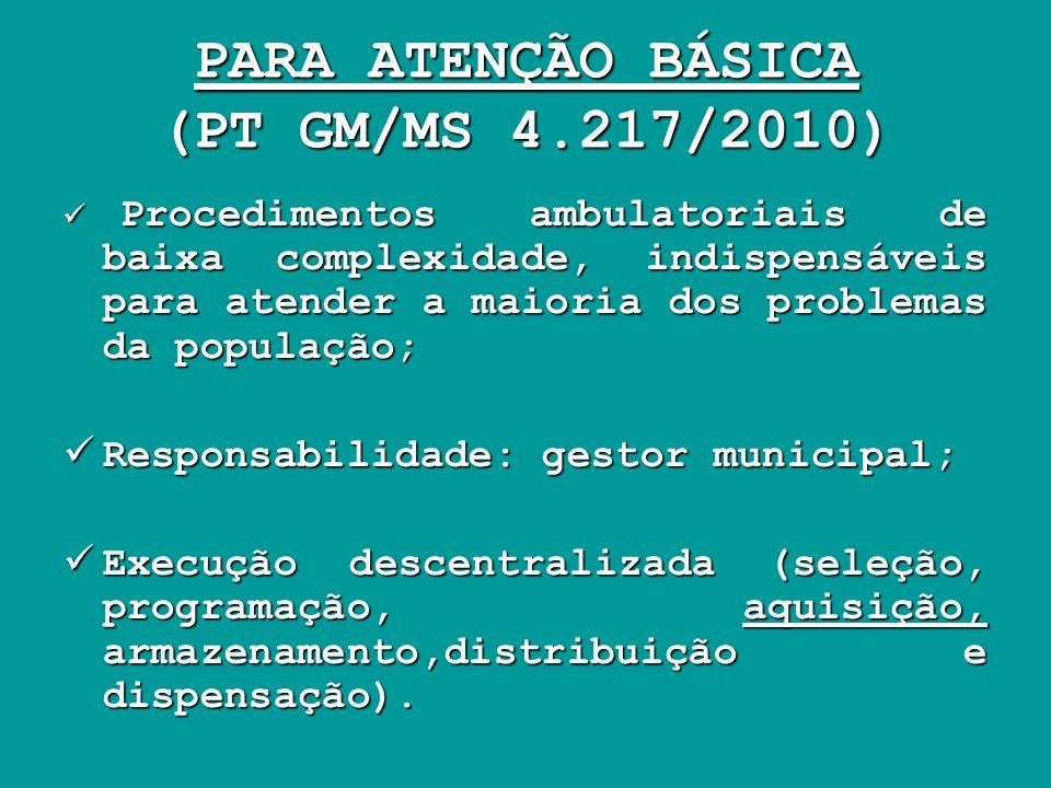 PARA ATENÇÃO BÁSICA (PT GM/MS 4.217/2010)