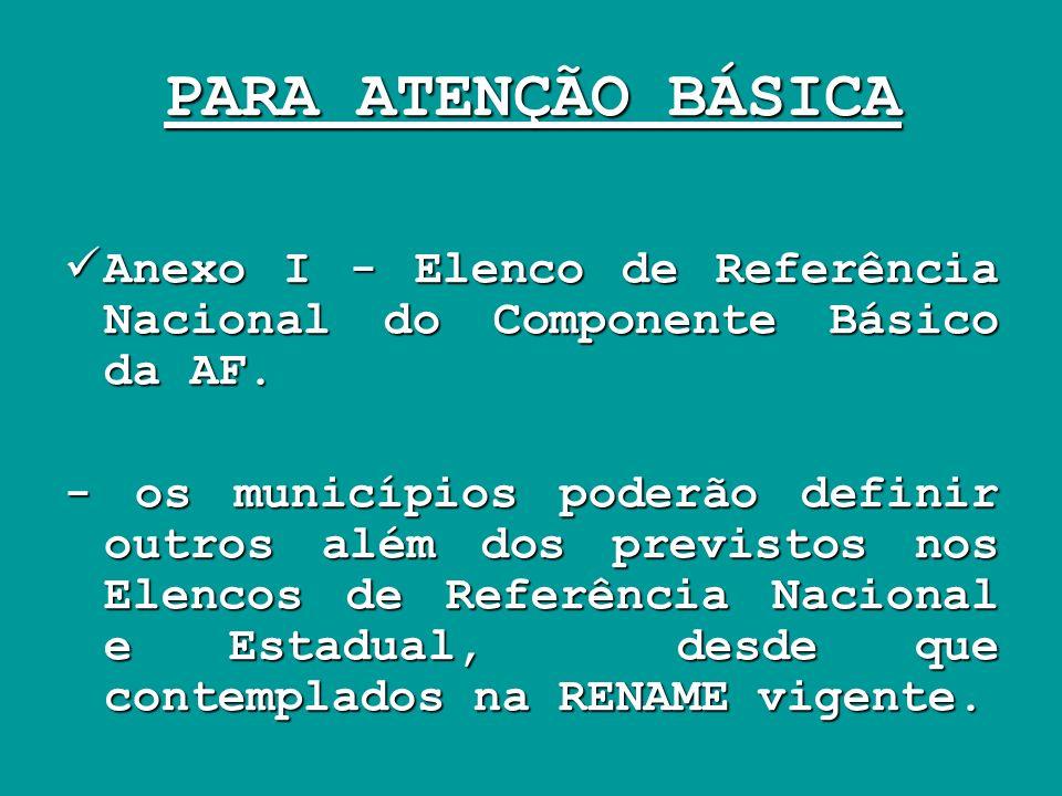 PARA ATENÇÃO BÁSICA Anexo I - Elenco de Referência Nacional do Componente Básico da AF.