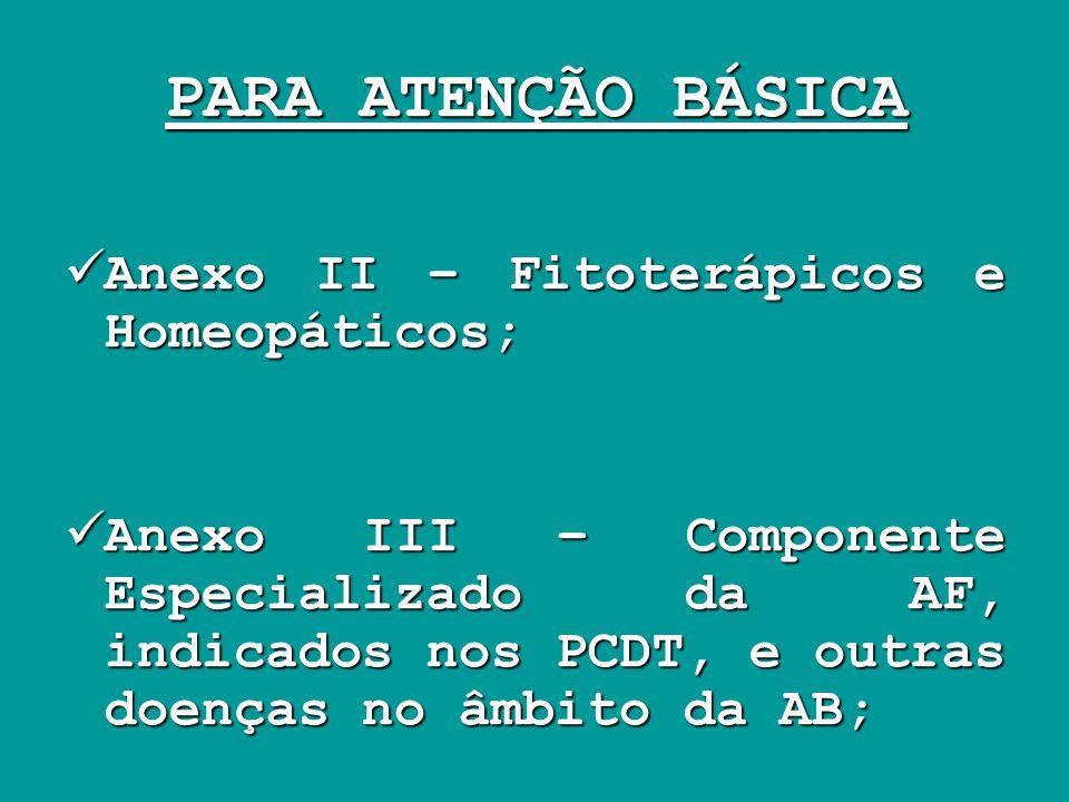 PARA ATENÇÃO BÁSICA Anexo II – Fitoterápicos e Homeopáticos;