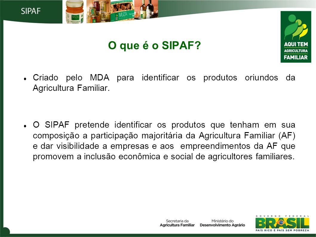 O que é o SIPAF Criado pelo MDA para identificar os produtos oriundos da Agricultura Familiar.