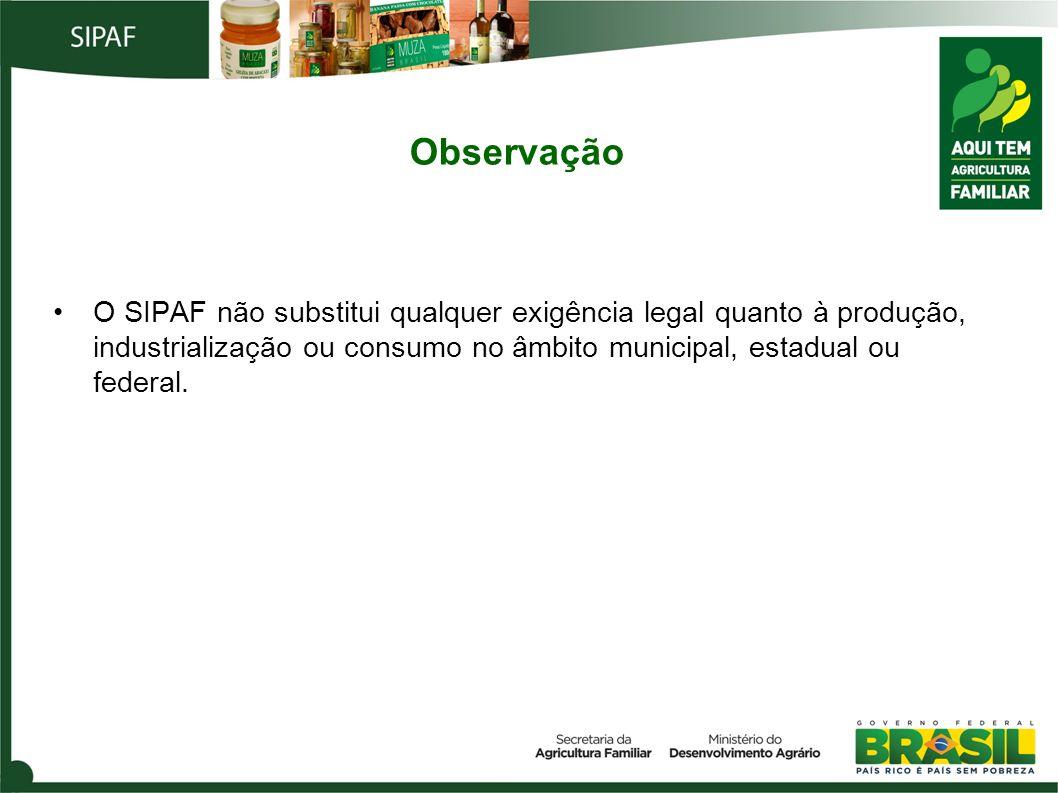 ObservaçãoO SIPAF não substitui qualquer exigência legal quanto à produção, industrialização ou consumo no âmbito municipal, estadual ou federal.