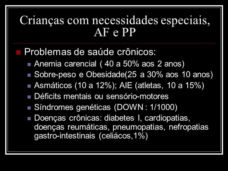 Crianças com necessidades especiais, AF e PP