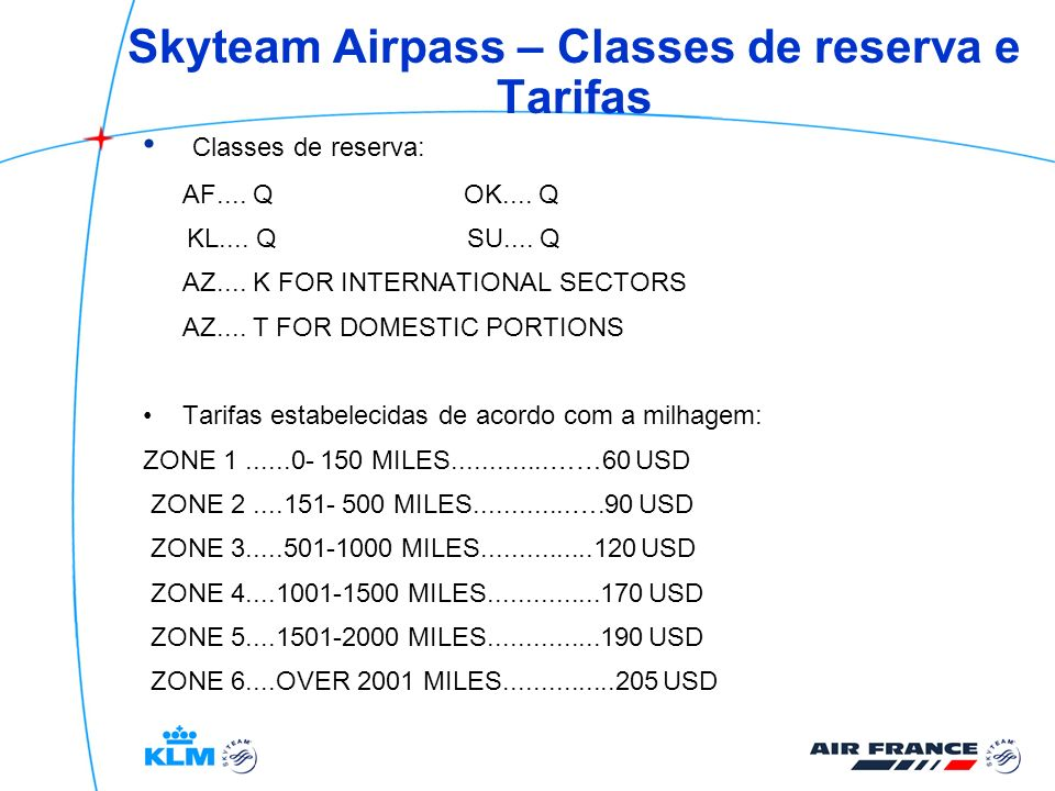 Skyteam Airpass – Classes de reserva e Tarifas