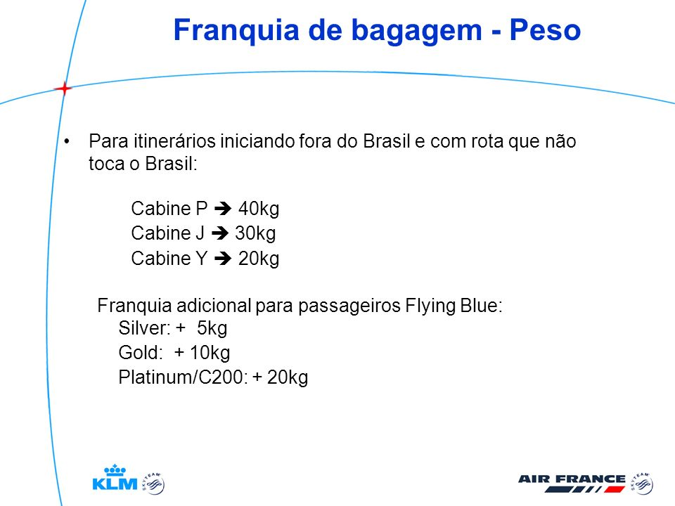 Franquia de bagagem - Peso