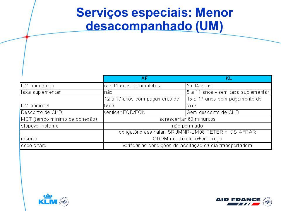 Serviços especiais: Menor desacompanhado (UM)