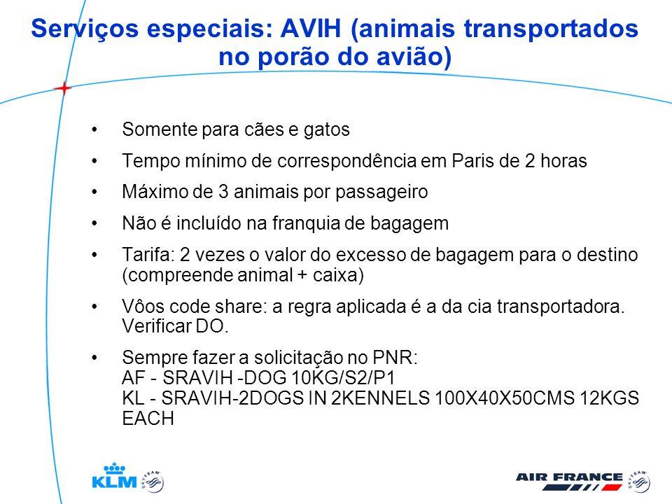 Serviços especiais: AVIH (animais transportados no porão do avião)