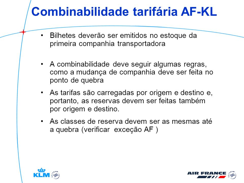 Combinabilidade tarifária AF-KL