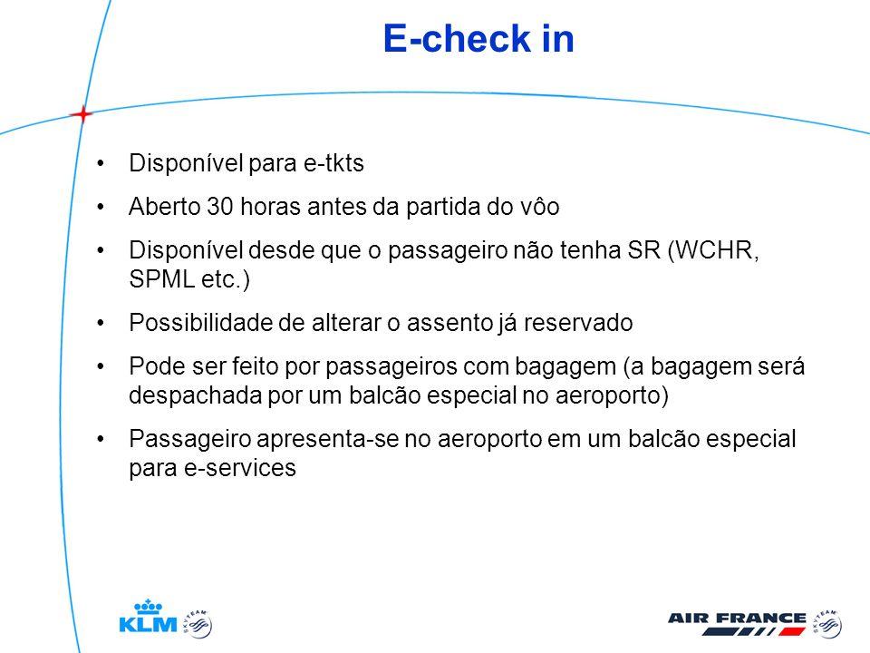 E-check in Disponível para e-tkts