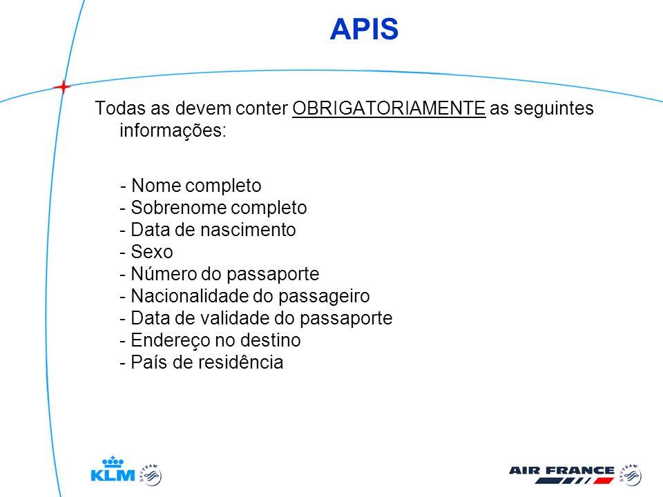 APIS Todas as devem conter OBRIGATORIAMENTE as seguintes informações: