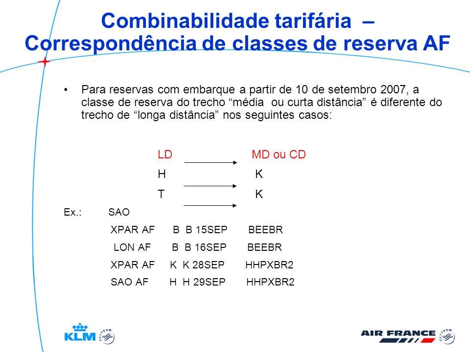 Combinabilidade tarifária – Correspondência de classes de reserva AF