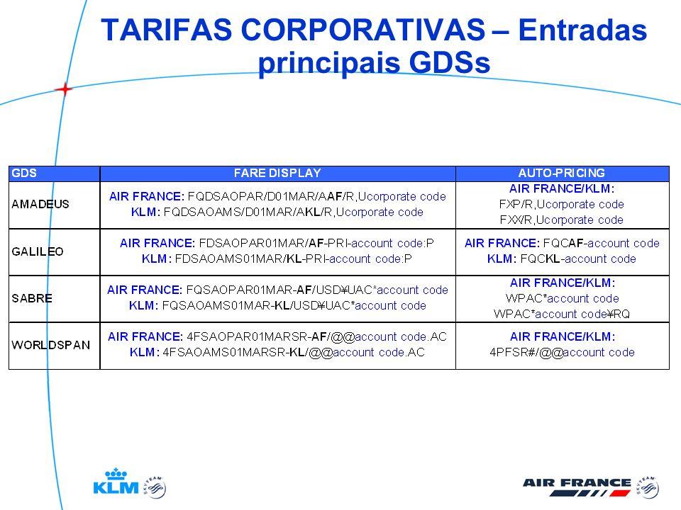 TARIFAS CORPORATIVAS – Entradas principais GDSs