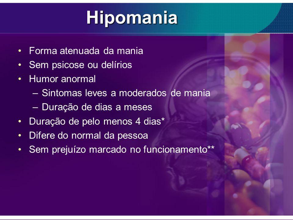 Hipomania Forma atenuada da mania Sem psicose ou delírios